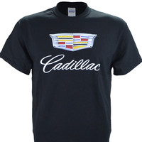 Caddy Cadillac Photographic Logo on a Black T Shirt