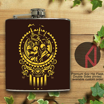 Steampunk 1852 6oz Hip Flask