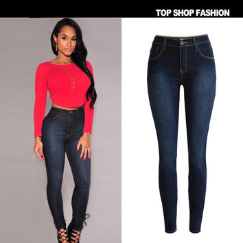 Hot Sale High Waist Stretch Slim Strong Character Denim Plus Size Skinny Pants [6365924036]