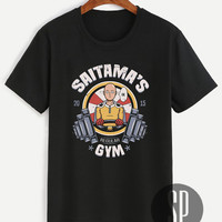 Saitama's Regular Gym Shirt One Punch Man Black Unisex Size Tshirt