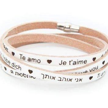 """I Love You"" Italian Leather Wrap Bracelet, White"
