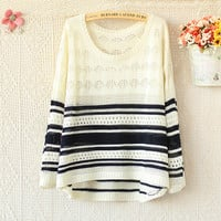 ROUND NECK LONG SLEEVE HOLLOW OUT COLOR STRIPED SWEATER from threelittlebirds
