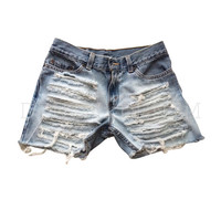 Women's Distressed Boyfriend Ripped Cut-Off Shorts High Waisted Low Rise Grunge Ripped Shredded Loose Levi Wrangler Gap