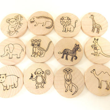 Zoo Animals Memory Matching Game 24 Pieces Wooden Toy