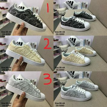 Adidas Original SUPERSTAR Snake print leather Fashion Skate Shoes 3 Colors