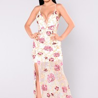 Mystique Embroidered Dress - White