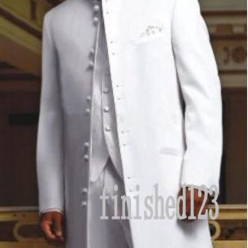 Fashionable Long White Groom Tuxedos Groomsmen Men's Wedding Prom Suits Custom Made (Jacket+Pants+Vest+Tie) K:85