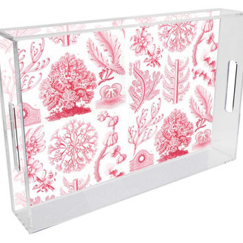 Pink Coral Lucite Tray