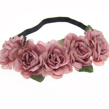 ESBONJ Fabric Lotus Flower Headbands for Woman Girls Hair Accessories Bridal Wedding Flower Crown Headband Forehead Hair Band