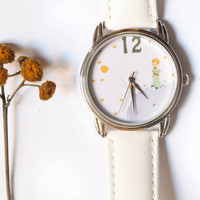 White Wrist Watch with Leather Band - Quartz Watch -The Little Prince - LE PETIT PRINCE-Free shipping