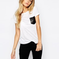 Noisy May T-Shirt With Leather Look Pocket