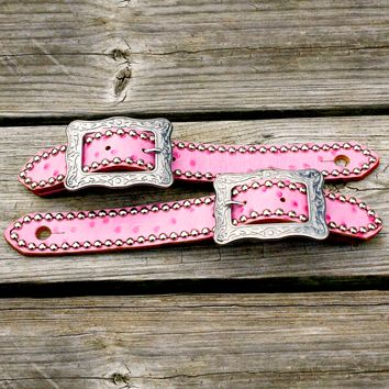 "Pink Ostrich Belt Style Spur Strap w/1.25"" Western Style Buckle"