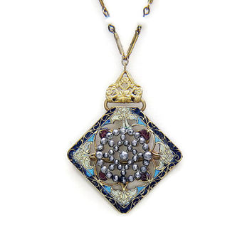 Victorian Necklace Antique Pendant Champleve Antique Enamel Necklace French Cut Steel