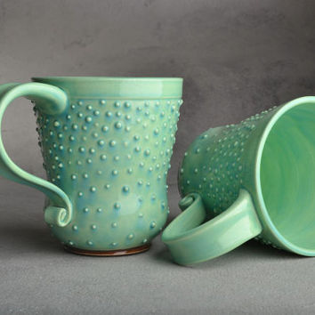 Dottie Coffee Mugs Made To Order Set of 2 Light Bluish Green Dottie Coffee Mugs Cups by Symmetrical Pottery