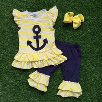Summer new  baby Girls Spring stuff short anchor yellow navy strpies capris with matching bow set