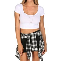 White Cap Sleeve Fitted Crop Tee