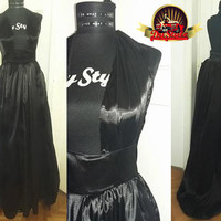Satin Formal Dress 1950s Train Gown Marilyn Monroe Retro Dress Custom Made Gown Plus Size Gown Train Dress Asymmetric Dress