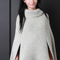 Thick Knit Turtleneck Cape Poncho