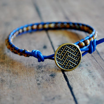 Blue Leather Bracelet with Brown Picasso Beads & Brass Chevron Button