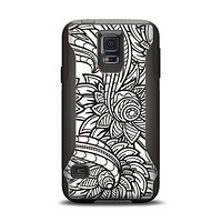 The Black & White Vector Floral Connect Samsung Galaxy S5 Otterbox Commuter Case Skin Set