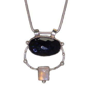 Cassidy Iolite and Moonstone Pendant Necklace