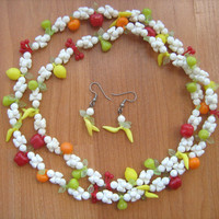 Vintage fruit salad necklace and pierced earring set