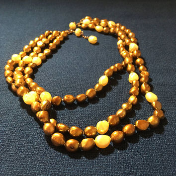 "Freshwater Pearl Necklace - Baroque pearl necklace brown 17""-20"" - 3 strands - 7-9 mm brown baroque pearl necklace- 925"
