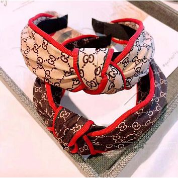 GUCCI Trending Women Stylish GG Letter Wide Edge Middle Knot Headwrap Headband Hair Band