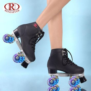 Women's  Roller Skates Girls Rink  Skates Light up LED Quad 4 Wheels Skating Shoes High -Top , free shipping
