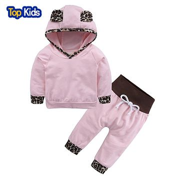 Pink Baby Girls Clothes Newborn Infant Hooded Sweatshirt Tops Pants Leopard 2pcs Outfits Tracksuit Kids Clothes