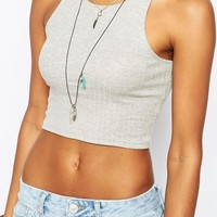 River Island Racer Back Cropped Tank Top