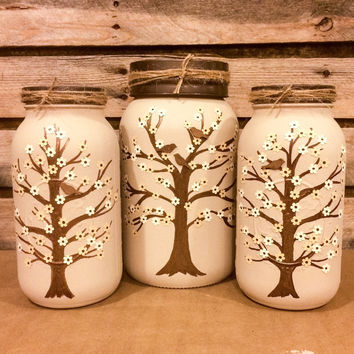 Set of 3 Large Hand Painted Tree Mason Jars, Beige Mason Jar  Canisters, Rustic Mason Jar Centerpiece, Shabby Chic Mason Jar Vases