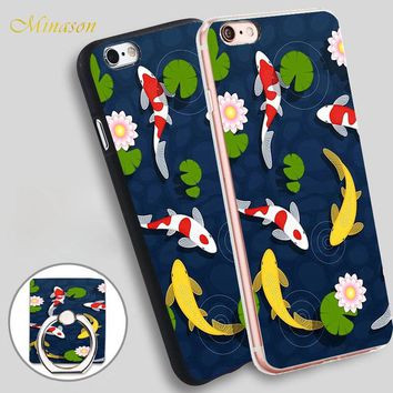 Minason Japanese Koi Fish Pond Mobile Phone Shell Soft TPU Silicone Case Cover for iPhone X 8 5 SE 5S 6 6S 7 Plus