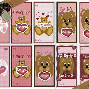 Valentine's Day Variety Pack Classroom Cut-outs Bunndy, Puppy Dog Bear Teddy Bear INSTANT DOWNLOAD