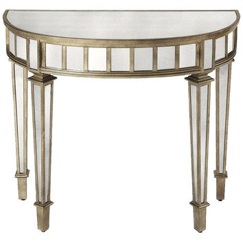 Garbo Mirrored Demilune Console Table