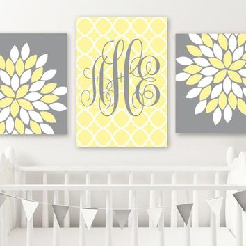 Yellow Gray Nursery Decor, Yellow Monogram Wall Art, Baby Girl Nursery Art, Girl Flower Monogram Nursery Decor, Set of 3, Canvas or Print