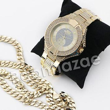 HIP HOP ICED OUT RAONHAZAE GOLD FINISHED LAB DIAMOND WATCH CUBAN CHAIN SET17