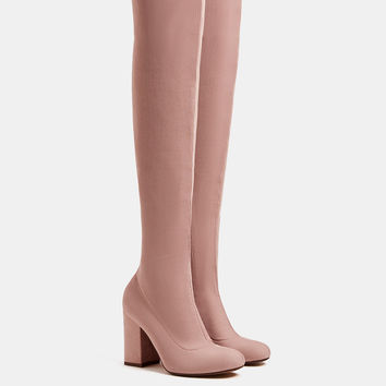 Elastic high heel over-the-knee boots - New - Bershka United Kingdom