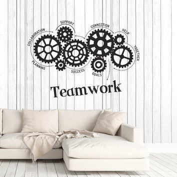 Vinyl Wall Decal Teamwork Gears Words Office Art Decoration Stickers Mural Unique Gift (ig4965)