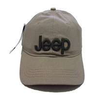 Jeep Unisex Solid Color Adjustable Cutton Baseball Cap Outdoor Sunhat With Front Logo,Beige