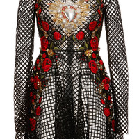Netted Lace Rose Embroidered Long Sleeve Dress by Dolce & Gabbana - Moda Operandi