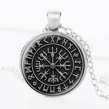 Norse Viking Cross in Rune Circle pendant jewelry Glass Cabochon Art Picture Necklace Handmade Glass Dome Jewelry Gift NG05