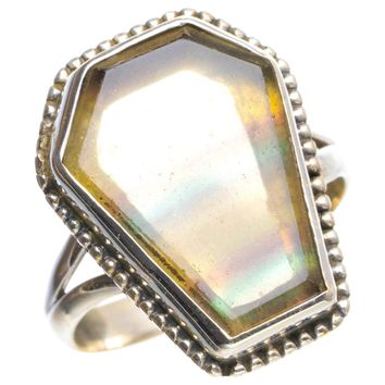 Natural Fluorite Handmade Unique 925 Sterling Silver Ring 7.75 Y4453