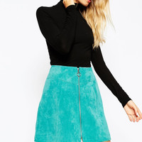 Bloggers Love This ! Beautiful Turquoise Blue Real Leather ( Suede ) A Line Skirt Front Zip sz USA Med Red also available