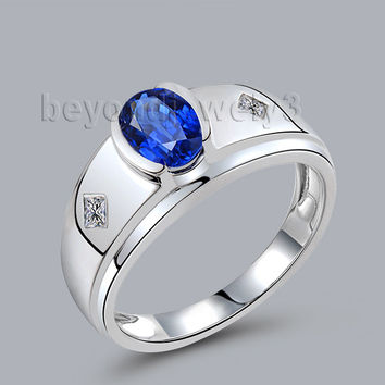 luxury oval 5x7mm natural diamond sapphire men wedding ring in 18kt white gold wu292