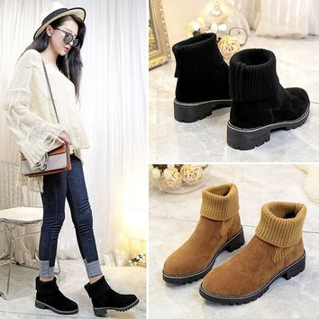 New Womens Low Heel Ankle Boots Snow Boots Autumn Winter Shoes Fashion