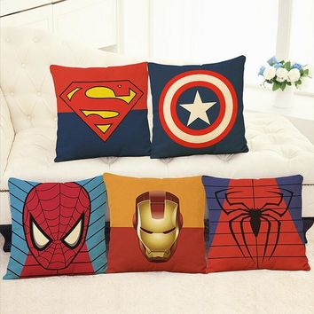 Batman Dark Knight gift Christmas Linen pillow cover Superman Batman War Captain America Marvel hero cartoon pillow cushion without the core AT_71_6