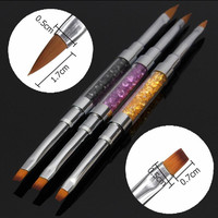 3 Style 2in1 Acrylic UV Gel Crystal Rhinestone Polish Flat Painting Brush Pen Nail Art Manicure Professional 2#4#6#