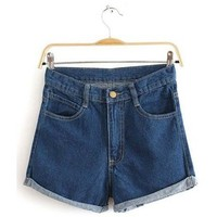 Summer Essential Deep Blue Denim Shorts for Girls