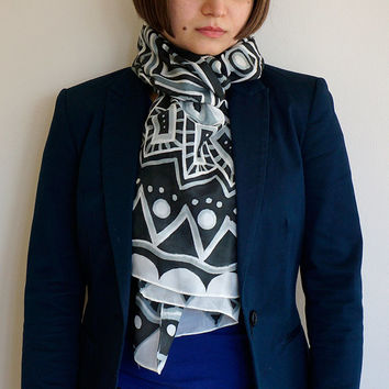 Monotone Geometry scarf, handpainted silk scarf, silk stole, one-of-a-kind silk painting, black and white, geometric pattern, winter scarf